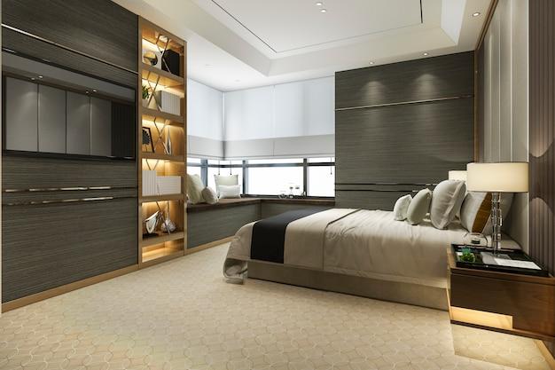 3d renderingu drewniany luksusowy luksusowy sypialnia z półka na książki i poduszką Premium Zdjęcia