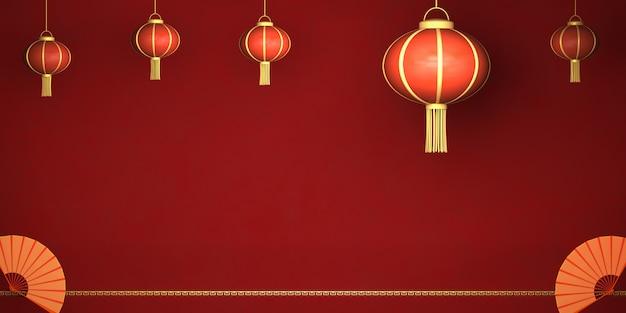 3d Renderingu Karty Chiński Szczęśliwy Nowy Rok, Chiński Lampion Na Czerwonym Tle Premium Zdjęcia
