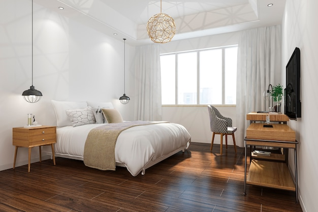 3d renderingu pomarańczowego rocznika sypialni minimalny apartament w hotelu z tv Premium Zdjęcia