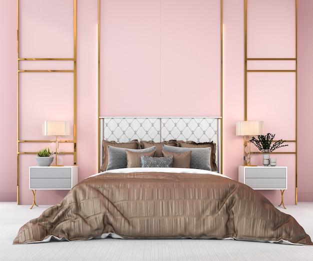 3d Renderingu Rocznika Różowa Minimalna Sypialnia W Skandynawa Stylu Premium Zdjęcia