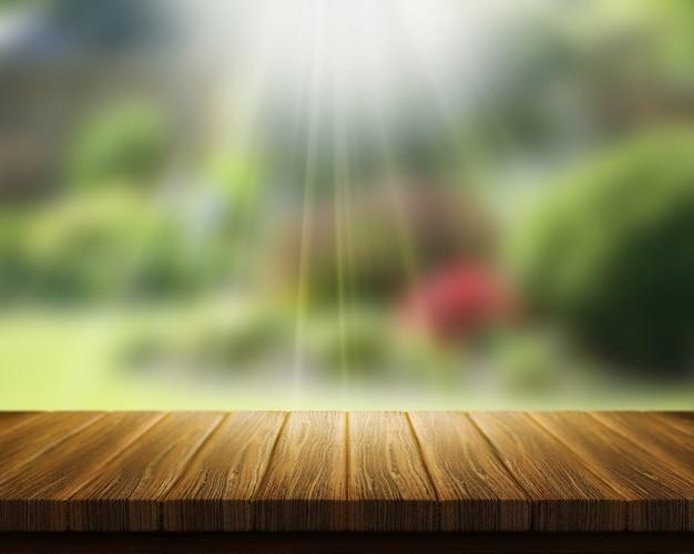 3d renderowania z drewnianym stole patrząc na niewyraźne ogród z promieni słonecznych Darmowe Zdjęcia