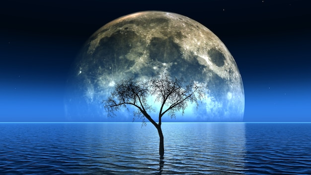 3d Renderowanie Martwego Drzewa W Zobacz Z Księżycem Na Niebie Darmowe Zdjęcia