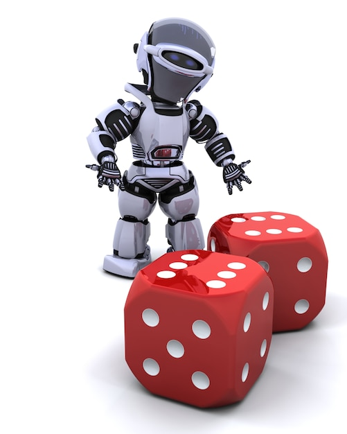 3d Renderowanie Robota Toczenia Casino Dice Darmowe Zdjęcia