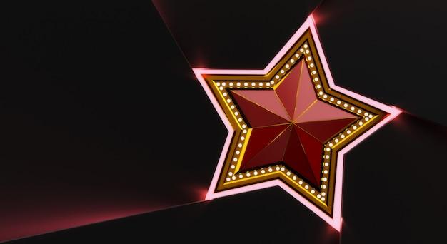 3d Rendiring Złota Gwiazda Z światłami Odizolowywającymi Na Czarnym Tle. Premium Zdjęcia