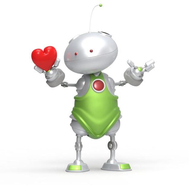 3d Robot Z Sercem W Ręku. Na Białym Tle Premium Zdjęcia