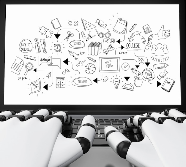 3d robota ręce pisania na laptopa z wykresem edukacji Premium Zdjęcia