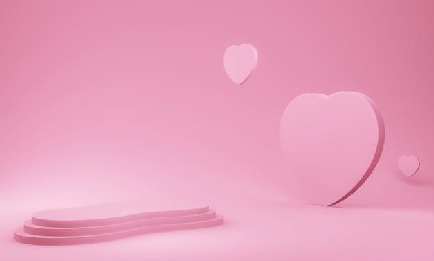 3d Różowy Etap Valentine Premium Zdjęcia
