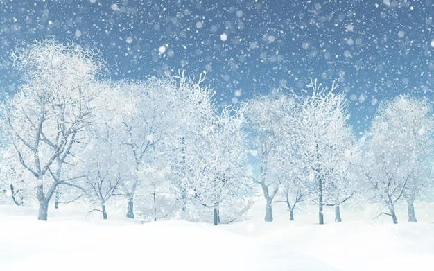 3d śnieżny krajobraz Darmowe Zdjęcia