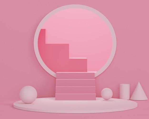 3d Streszczenie Minimalne Formy Geometryczne. Błyszczące Luksusowe Podium Dla Twojego Projektu. Pokaz Mody, Cokół, Witryna Sklepowa W Kolorowym Motywie. Premium Zdjęcia