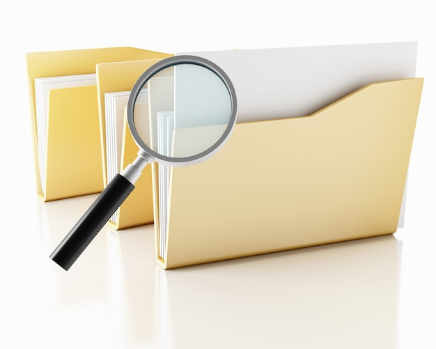 3d szkło powiększające z folderami. Premium Zdjęcia