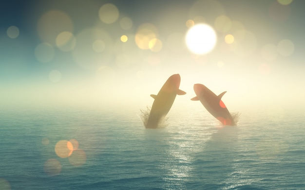 3d wielorybów wyskakując z morza Darmowe Zdjęcia