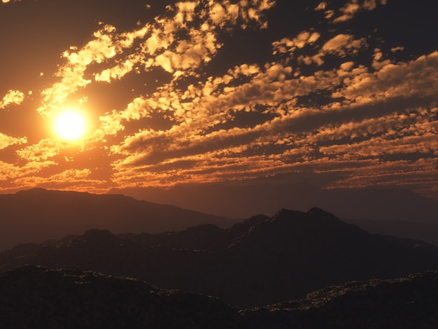 3d Zachód Słońca Górski Krajobraz Darmowe Zdjęcia