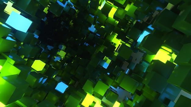 Abstrakcja Latająca W Tle Futurystycznego Korytarza, Fluorescencyjne światło Ultrafioletowe, świecące Kolorowe Neony, Geometryczny Niekończący Się Tunel, Zielone, Niebieskie Widmo Premium Zdjęcia