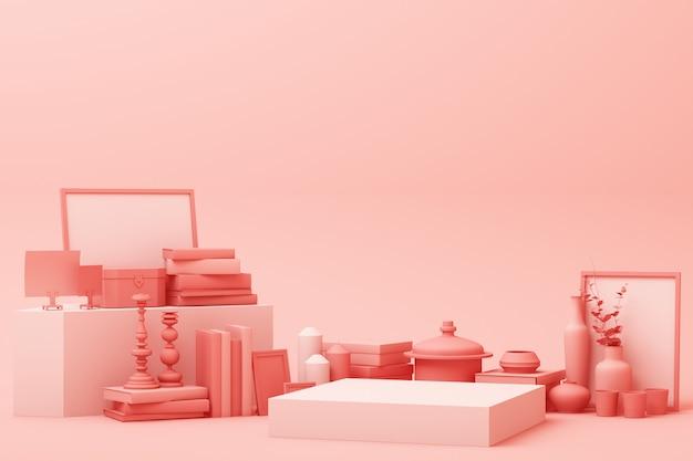Abstrakcjonistyczna Geometryczna Kształta Pastelu Menchii Koloru Scena Minimalna Z Dekoracją I Wsparciem, Projektem Dla Kosmetyka Lub Produktu Pokazu Podium 3d, Odpłaca Się Premium Zdjęcia