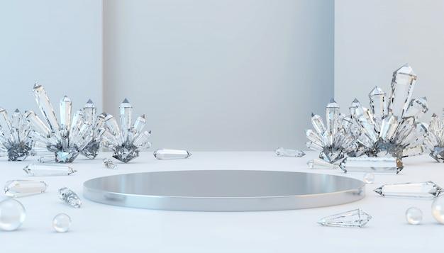 Abstrakcjonistyczna Luksusowa Metal Scena Z żrącą Kryształową I Szklaną Piłką, Szablon Dla Reklamowego Produktu, 3d Rendering. Premium Zdjęcia