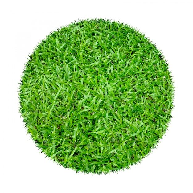 Abstrakcjonistyczna zielonej trawy tekstura dla tła. okrąg zielona trawa odizolowywająca Premium Zdjęcia
