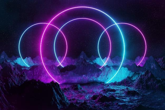 Abstrakcjonistyczni Neonowego światła Okręgi Na Ziemi Premium Zdjęcia