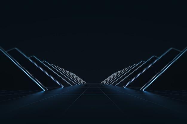 Abstrakcjonistyczny Futurystyczny Z Rozjarzonym Neonowym światłem I Siatki Linii Wzoru Tłem. Styl Technologii Premium Zdjęcia