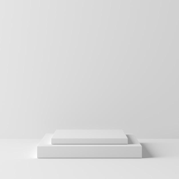 Abstrakcjonistyczny Geometria Kwadrata Kształta Koloru Biały Podium Na Białym Tle Dla Produktu. Minimalna Koncepcja. Renderowania 3d Premium Zdjęcia