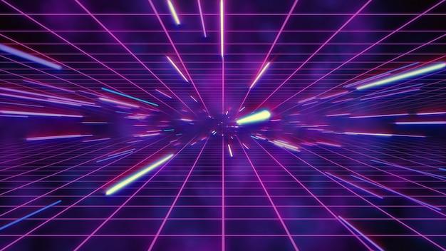 Abstrakcjonistyczny Retro Osnowy Lub Hiperspace Ruch W Błękitnej Purpury Gwiazdy śladu 3d Ilustraci Premium Zdjęcia