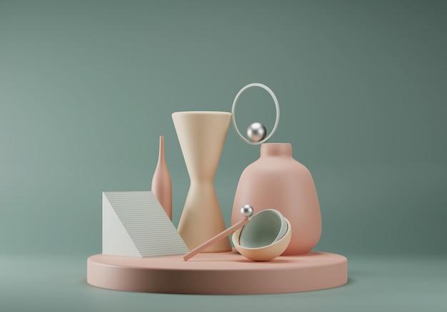 Abstrakcyjna Pastelowa Kompozycja Z Prymitywnych Kształtów Geometrycznych. Koncepcja Równowagi. Scena Dla Premium Zdjęcia