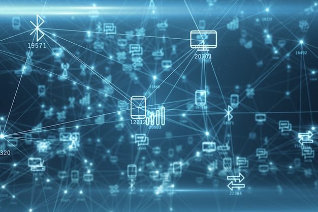 Abstrakcyjna Sieć Urządzeń Fizycznych W Internecie Za Pomocą Połączenia Sieciowego Z Numerami Statystycznymi Premium Zdjęcia