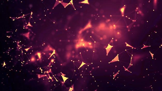 Abstrakcyjne Tło Dot I Podłącz Linię Dla Technologii Cyber Futurystycznej I Koncepcji Połączenia Sieciowego Z Szerokim Ekranem O Ciemnych I Ziarnistych Proporcjach Premium Zdjęcia