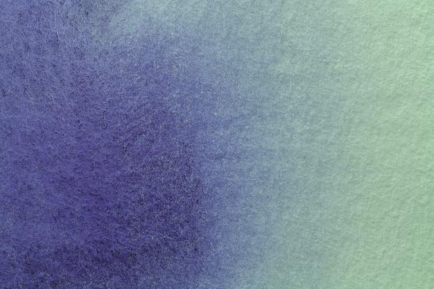 Abstrakcyjne Tło Sztuki Granatowe I Zielone Kolory. Akwarela Na Płótnie Z Delikatnym Błękitnym Gradientem. Premium Zdjęcia