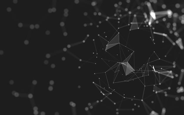 Abstrakcyjne tło. technologia cząsteczek o wielokątnych kształtach, łączących kropki i linie. struktura połączeń. wizualizacja dużych danych. Premium Zdjęcia