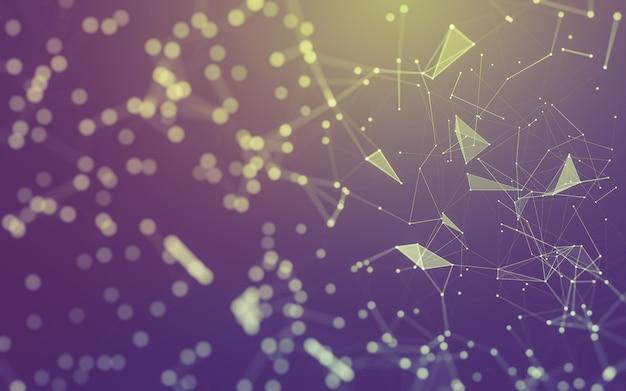 Abstrakcyjne tło. technologia cząsteczek o wielokątnych kształtach, łączących kropki i linie Premium Zdjęcia