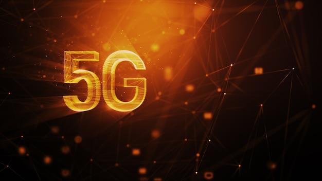 Abstrakcyjne Tło Technologii 5g, Z Rozmyciem Cząsteczki Oświetlenia I Linią Połączenia, Dla Futurystycznej Koncepcji Cyber Technologii I Komunikacji Premium Zdjęcia