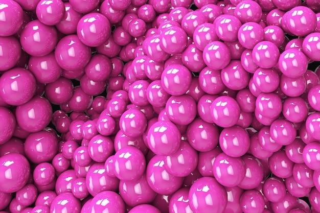 Abstrakcyjne Tło Z Dynamicznymi Sferami 3d. Plastikowe Miękkie, Różowe Bąbelki. 3d Ilustracja Błyszczących Kulek. Nowoczesny Modny Projekt Banera Lub Plakatu Premium Zdjęcia