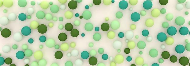 Abstrakcyjne Tło Z Losowo Rozrzuconych Sfer Odcieni Zieleni, Ilustracji 3d Premium Zdjęcia