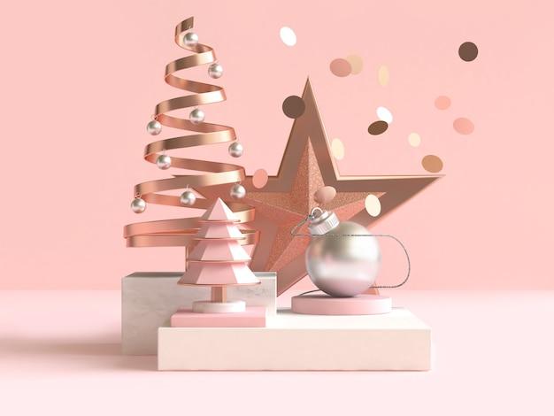 Abstrakcyjny Kształt Geometryczny Boże Narodzenie Koncepcja Dekoracji Renderowania 3d Premium Zdjęcia