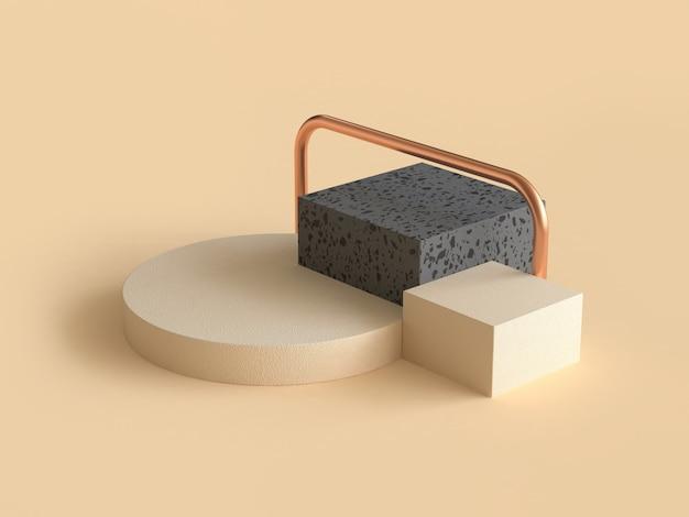 Abstrakcyjny Kształt Geometryczny Krem Czarny I Złoty Renderowania 3d Premium Zdjęcia