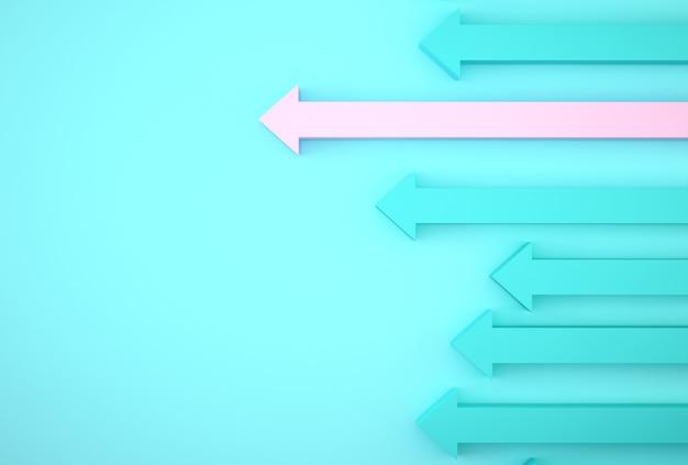Abstrakt różowy strzałkowaty wykres na błękitnym tle, korporacyjny przyszłościowy plan wzrostu. rozwój biznesu do sukcesu i rosnące pojęcie wzrostu. Premium Zdjęcia
