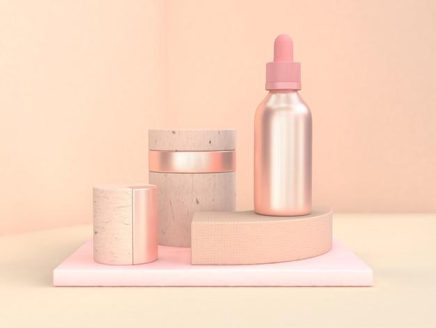 Abstrakta różowy geometryczny kształt metaliczny różowy ciekłej butelki renderingu 3d Premium Zdjęcia