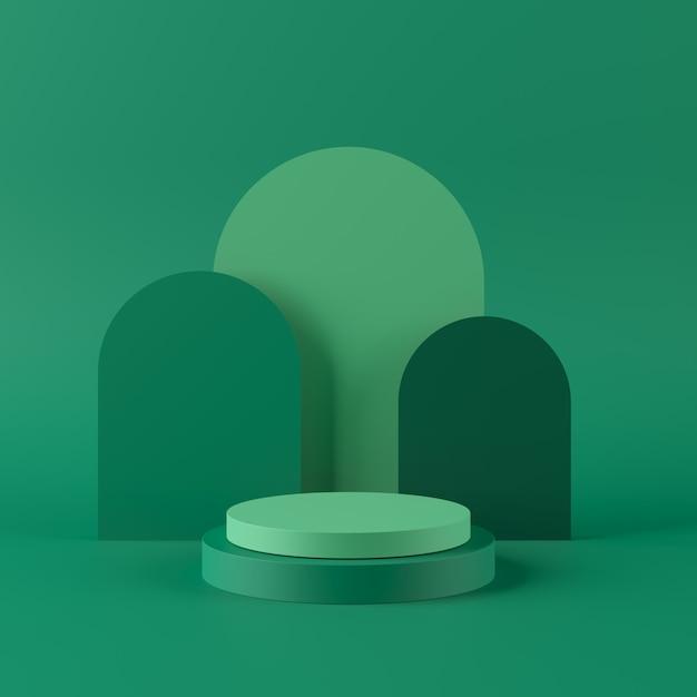 Abstrakta Zielony Tło Z Geometrycznym Kształta Podium Dla Produktu. Minimalna Koncepcja. Renderowania 3d Premium Zdjęcia