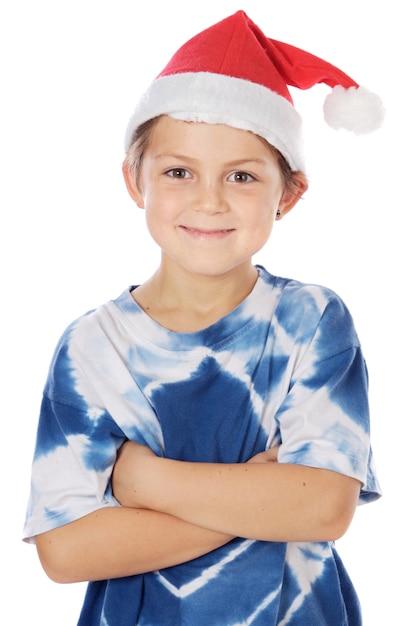 Adorable Mały Santa Na Białym Tle Premium Zdjęcia