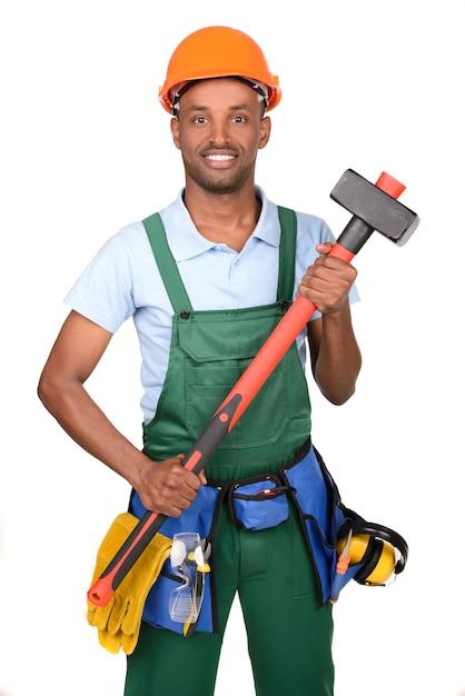 Afrykański męski pracownika przewożenia przybornik Premium Zdjęcia