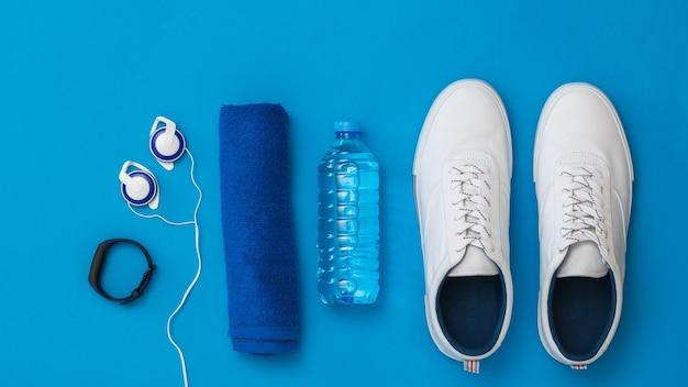Akcesoria Fitness Niebieska Powierzchnia Premium Zdjęcia