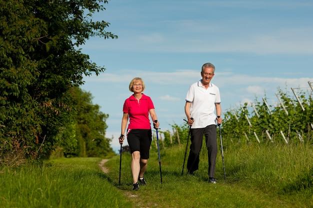 Aktywna para starszych robi nordic walking Premium Zdjęcia