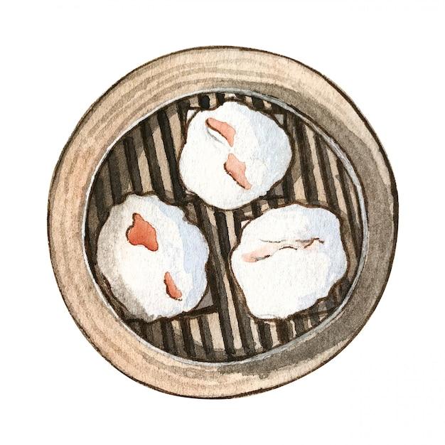 Akwarela azjatyckie jedzenie dim sum, widok z góry Premium Zdjęcia