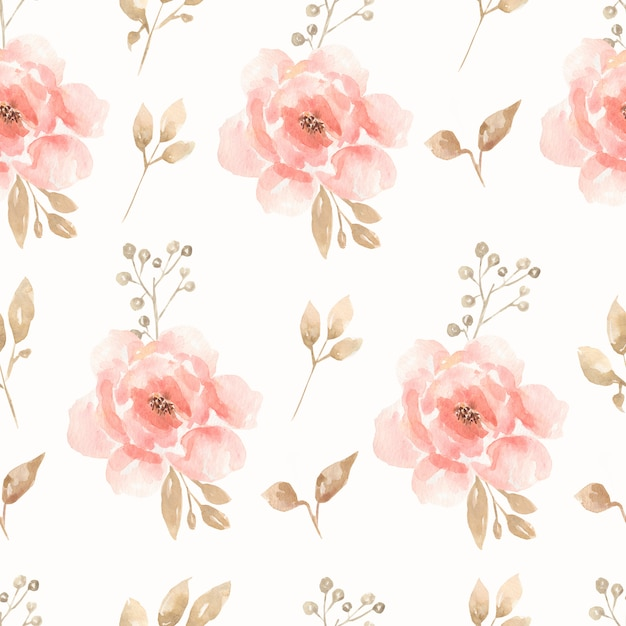 Akwarela bezszwowe kwiat bukiet piwonie i róże wzór. Premium Zdjęcia