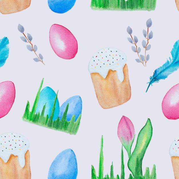 Akwarela Bezszwowe Wielkanocne Elementy Wzór Premium Zdjęcia