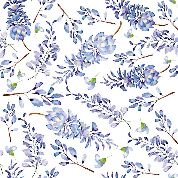 Akwarela bezszwowe wzór letnich kwiatów i liści na jasnym tle. Premium Zdjęcia