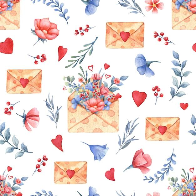 Akwarela Bezszwowe Wzór Z Bukietem Kwiatów, Serca, Koperty. Koncepcja Walentynki. Premium Zdjęcia