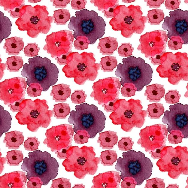 Akwarela Bezszwowe Wzór Z Kwiatami Maku. Może Być Stosowany Do Owijania, Projektowania Tkanin I Opakowań Premium Zdjęcia