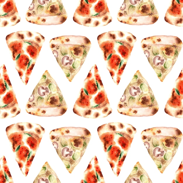 Akwarela Bezszwowe Wzór Z Różnego Rodzaju świeżej Pizzy Premium Zdjęcia