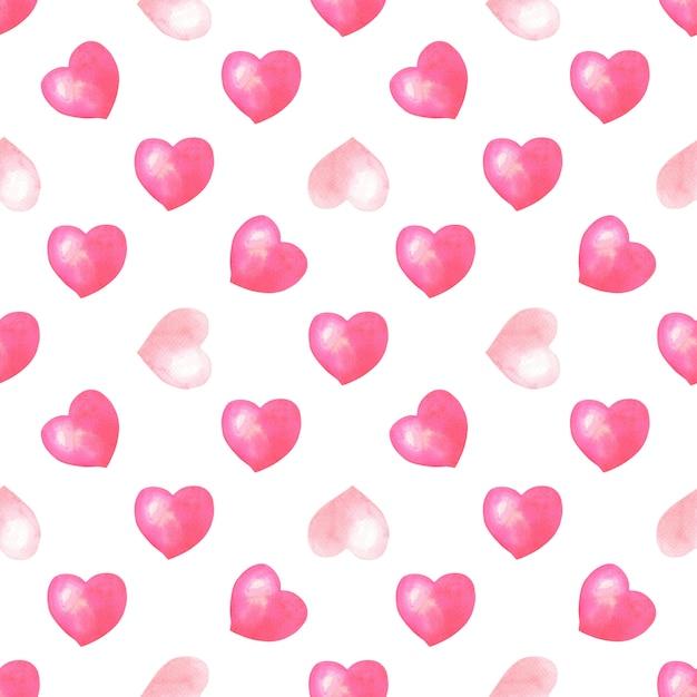 Akwarela Bezszwowe Wzór Z Różowe, Czerwone Serca Na Białym Tle Premium Zdjęcia